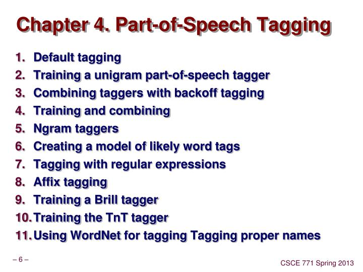 Chapter 4. Part-of-Speech Tagging