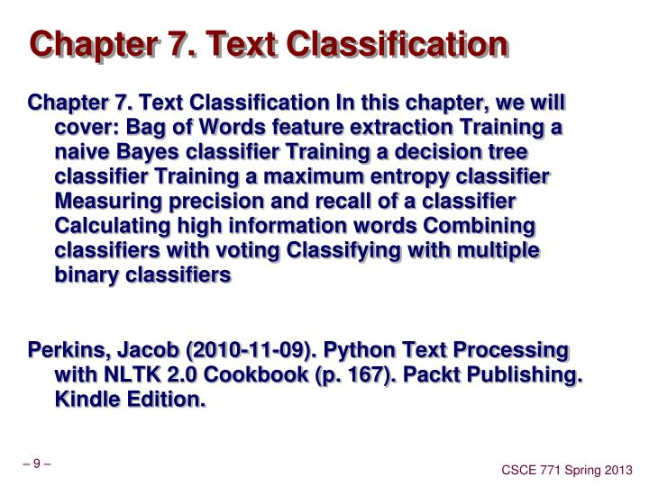 Chapter 7. Text Classification