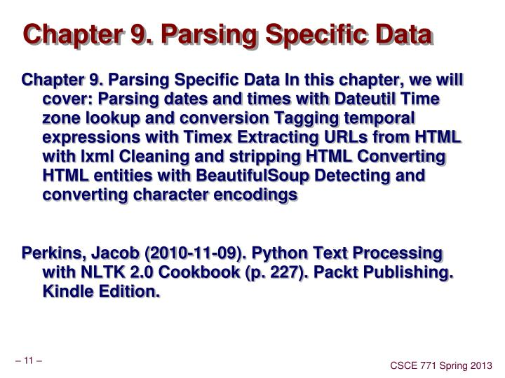 Chapter 9. Parsing Specific Data