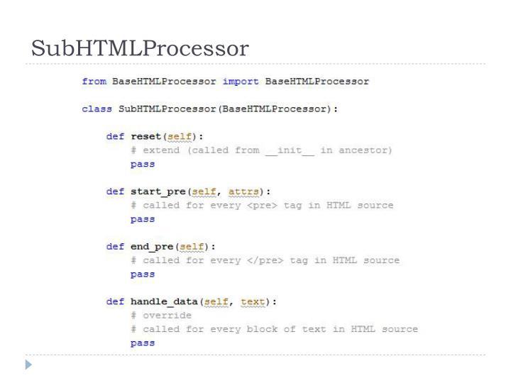 SubHTMLProcessor