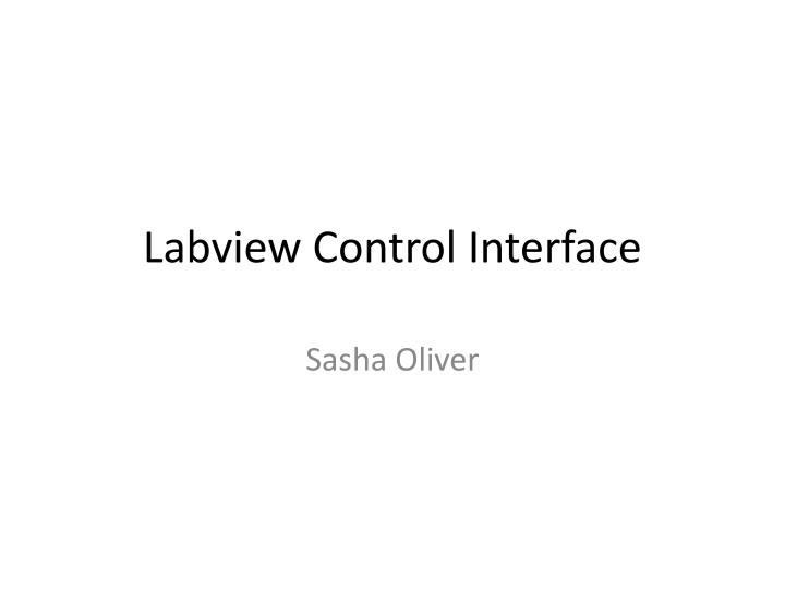 Labview Control Interface