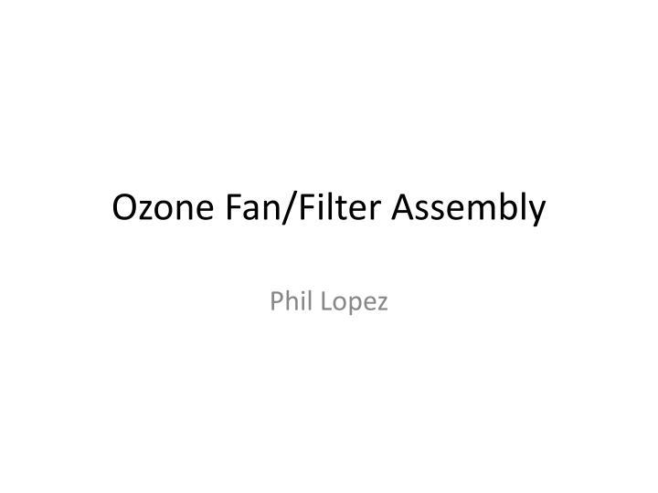 Ozone Fan/Filter Assembly