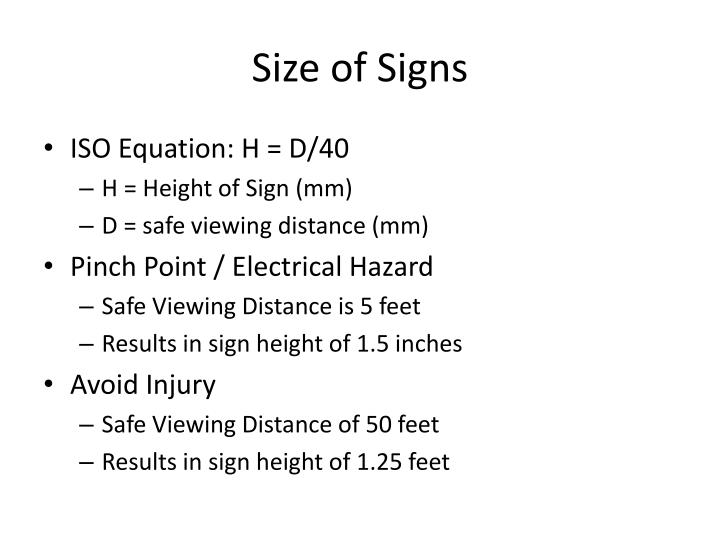 Size of Signs