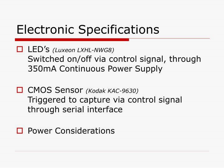 Electronic Specifications