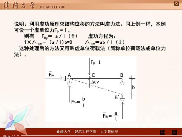 说明:利用虚功原理求结构位移的方法叫虚力法。同上例一样,本例可设一个虚单位力