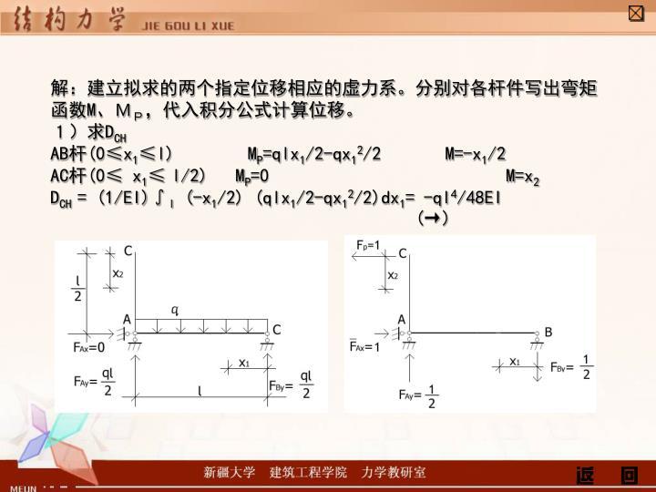 解:建立拟求的两个指定位移相应的虚力系。分别对各杆件写出弯矩函数