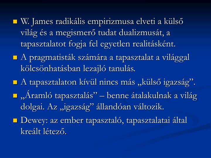 W. James radikális empirizmusa elveti a külső világ és a megismerő tudat dualizmusát, a tapasztalatot fogja fel egyetlen realitásként.