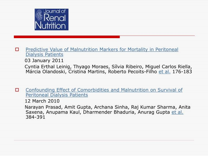 Predictive Value of Malnutrition Markers for Mortality in Peritoneal Dialysis Patients