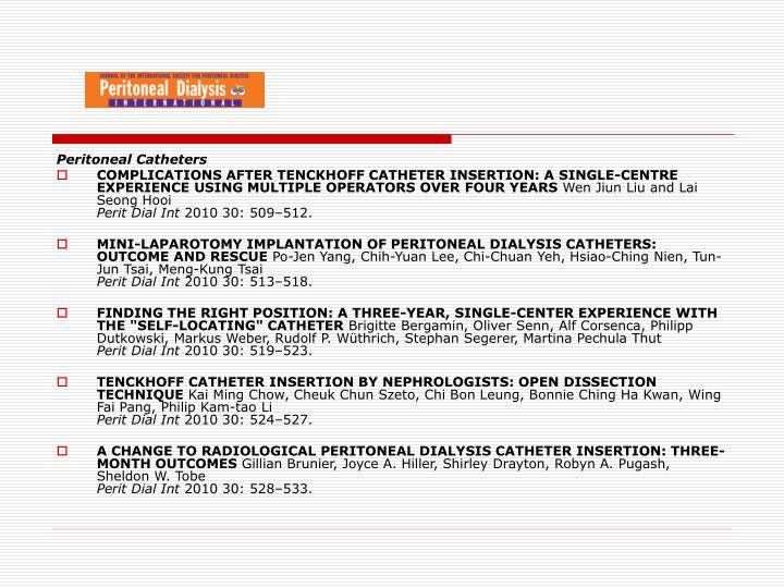 Peritoneal Catheters