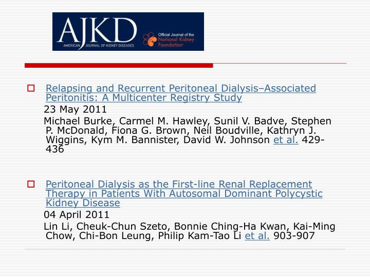 Relapsing and Recurrent Peritoneal Dialysis–Associated Peritonitis: A Multicenter Registry Study