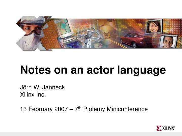 Notes on an actor language