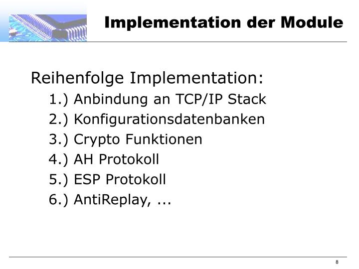 Implementation der Module