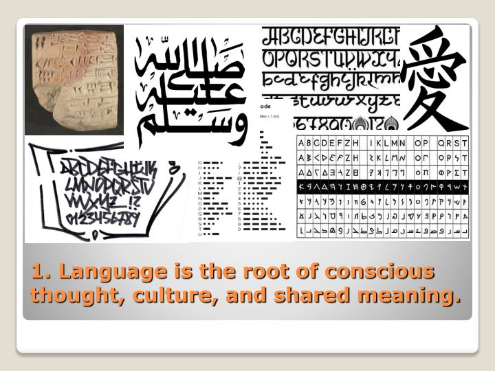 1. Language is the root of conscious thought, culture, and shared meaning.