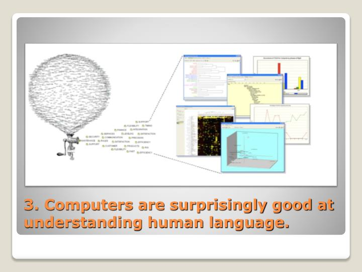 3. Computers are surprisingly good at understanding human language.