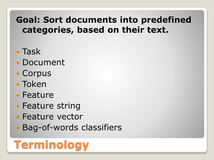 Goal: Sort documents into predefined categories, based on their text.