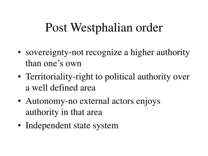 Post Westphalian order