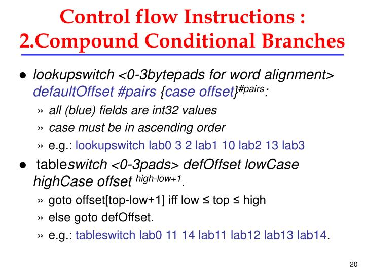 Control flow Instructions :