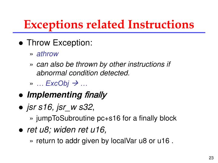 Exceptions related Instructions