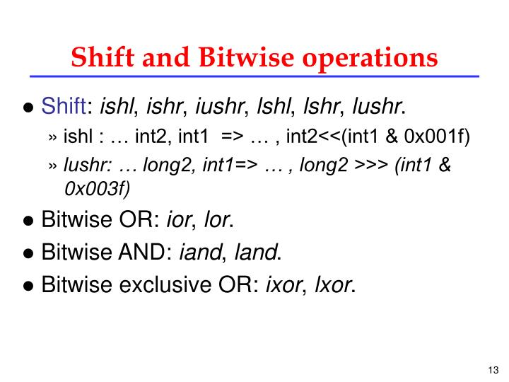 Shift and Bitwise operations