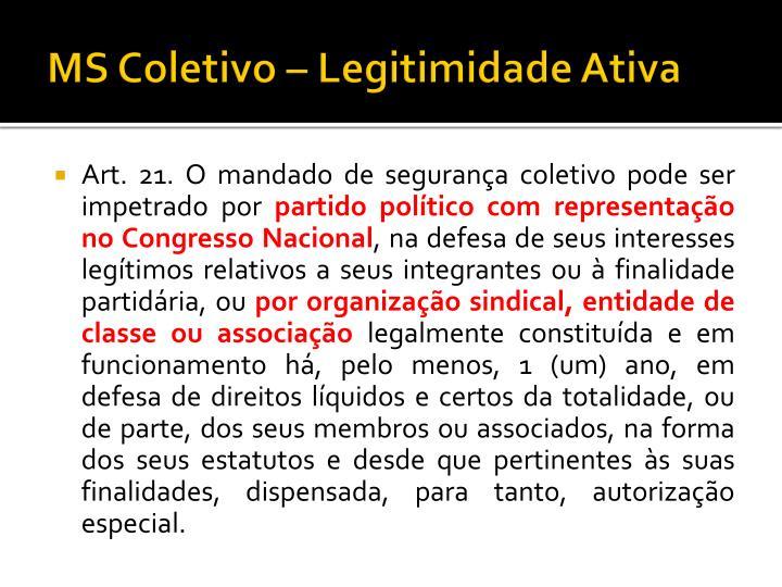 MS Coletivo – Legitimidade Ativa