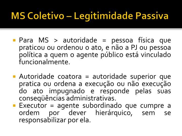 MS Coletivo – Legitimidade Passiva