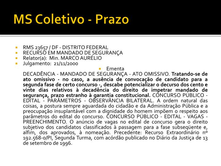 MS Coletivo - Prazo