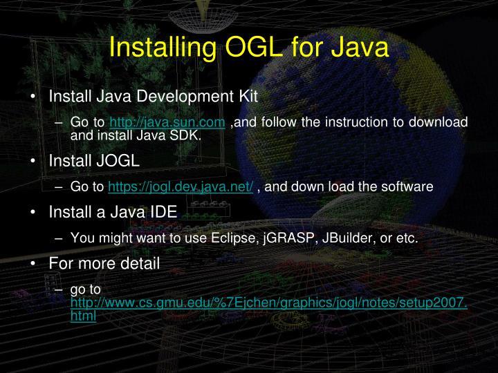 Installing OGL for Java
