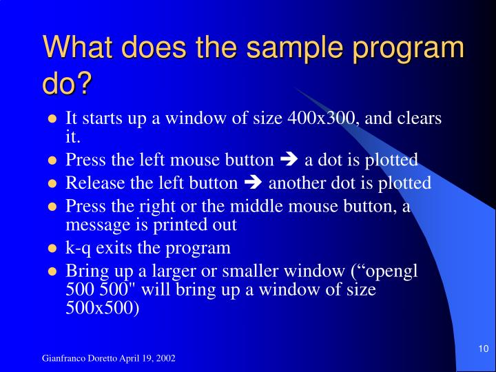 What does the sample program do?