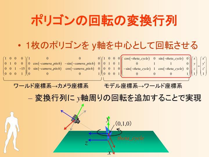 ポリゴンの回転の変換行列