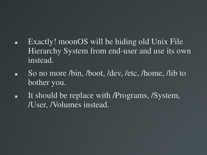 Exactly! moonOS will be hiding old Unix File Hierarchy System from end-user and use its own instead.