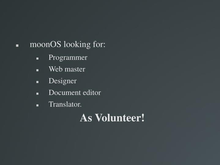 moonOS looking for: