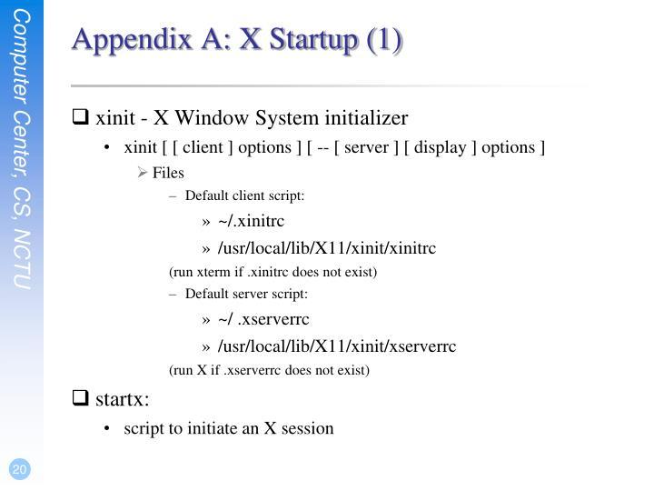 Appendix A: X Startup (1)