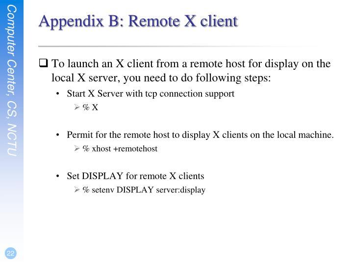 Appendix B: Remote X client