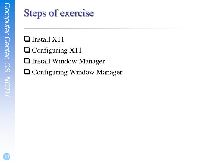 Steps of exercise