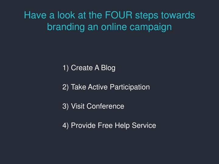 Have a look at the FOUR steps towards