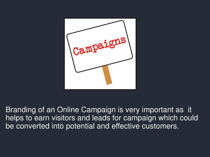 Branding of an Online Campaign is very important as  it helps to earn visitors and leads for campaign which could be converted into potential and effective customers.