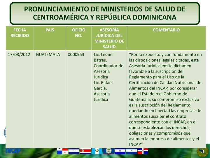 PRONUNCIAMIENTO DE MINISTERIOS DE SALUD DE CENTROAMÉRICA Y REPÚBLICA DOMINICANA