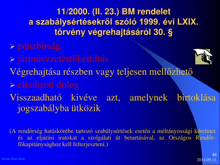 11/2000. (II. 23.) BM rendelet
