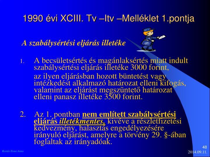 1990 évi XCIII. Tv –Itv –Melléklet 1.pontja