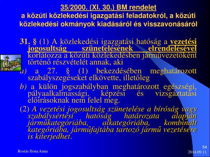35/2000. (XI. 30.) BM rendelet