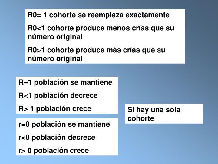 R0= 1 cohorte se reemplaza exactamente