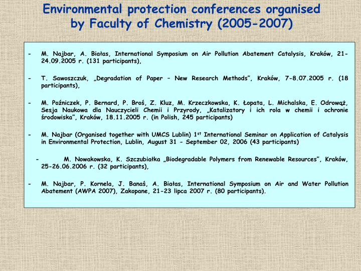 Environmental protection conferences organised by Faculty of Chemistry