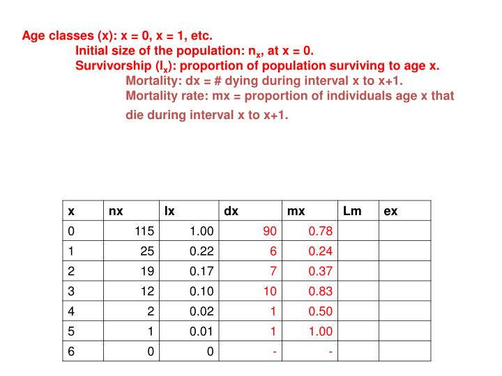 Age classes (x): x = 0, x = 1, etc.
