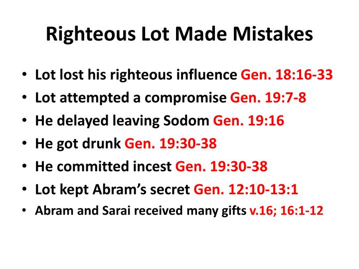 Righteous Lot Made Mistakes