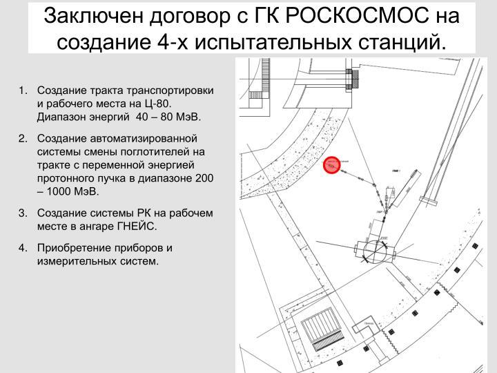 Заключен договор с ГК РОСКОСМОС на создание 4-х испытательных станций.