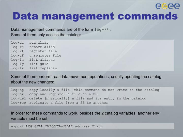 Data management commands