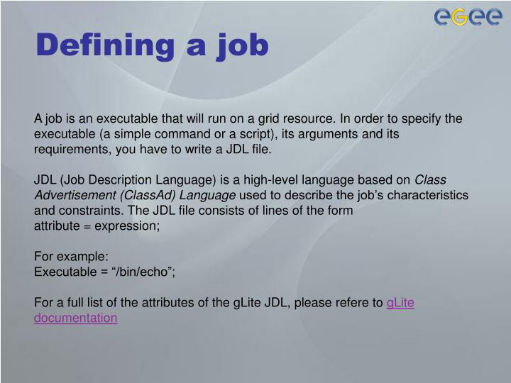 Defining a job