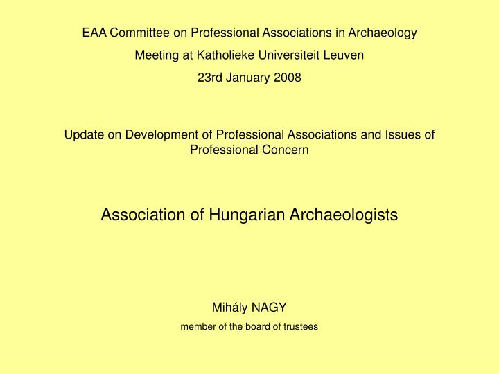 EAA Committee on Professional Associations in Archaeology
