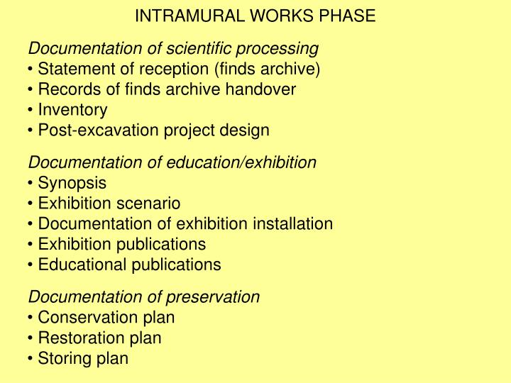 INTRAMURAL WORKS PHASE