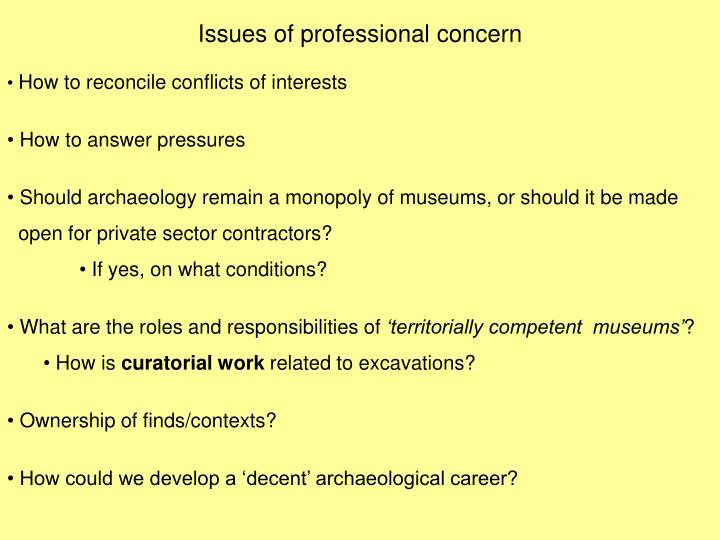 Issues of professional concern